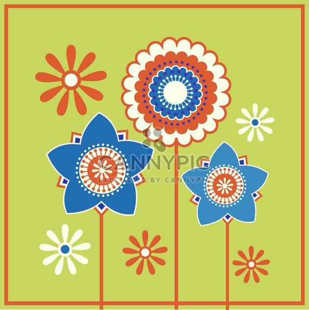 Vektor-Illustration von Blümchenmuster auf grünem Hintergrund - Kostenloses vector #127187