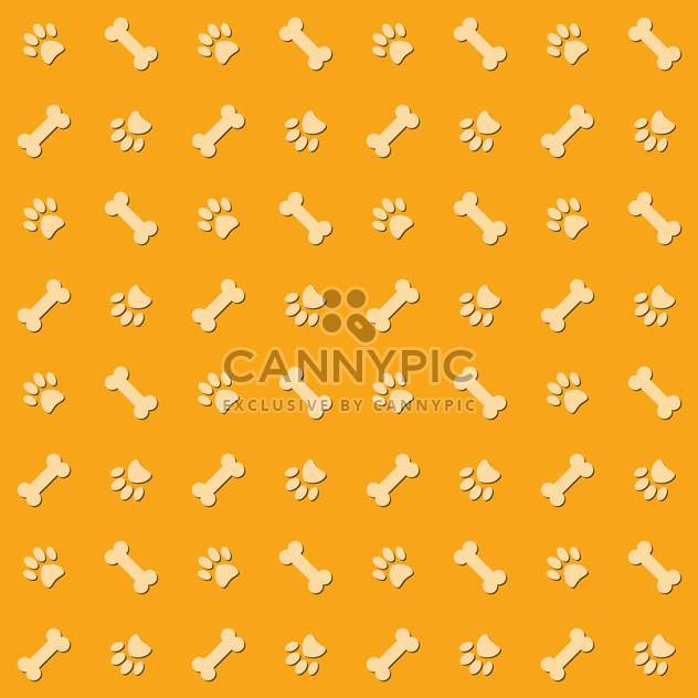 Yellow background with dog paw prints and bones - Free vector #127207