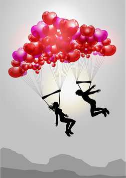Couple flying on parachutes made of hearts - Free vector #127227