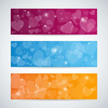 colorful badges with hearts with text place on white background - vector gratuit #127237