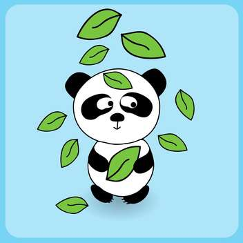 Illustration of cute cartoon panda with falling leaves on blue background - бесплатный vector #127267