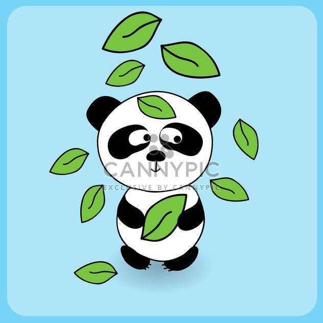 Illustration of cute cartoon panda with falling leaves on blue background - Free vector #127267