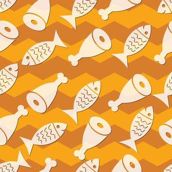 Vector illustration of seamless fish and meat background - Free vector #127297