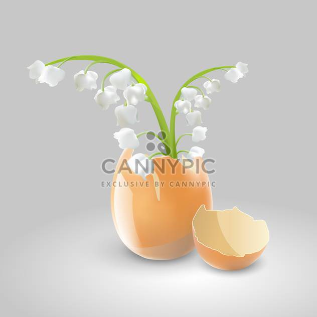 Vector illustration of lilies of valley in eggshell on grey background - Free vector #127337