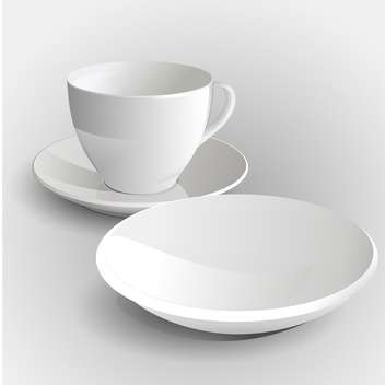 Vector illustration of coffee cup and saucer on white background - vector #127347 gratis