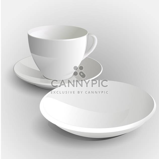 Vector illustration of coffee cup and saucer on white background - Free vector #127347