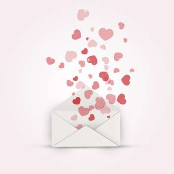 Vector illustration of envelope with hearts on pink background - Free vector #127537