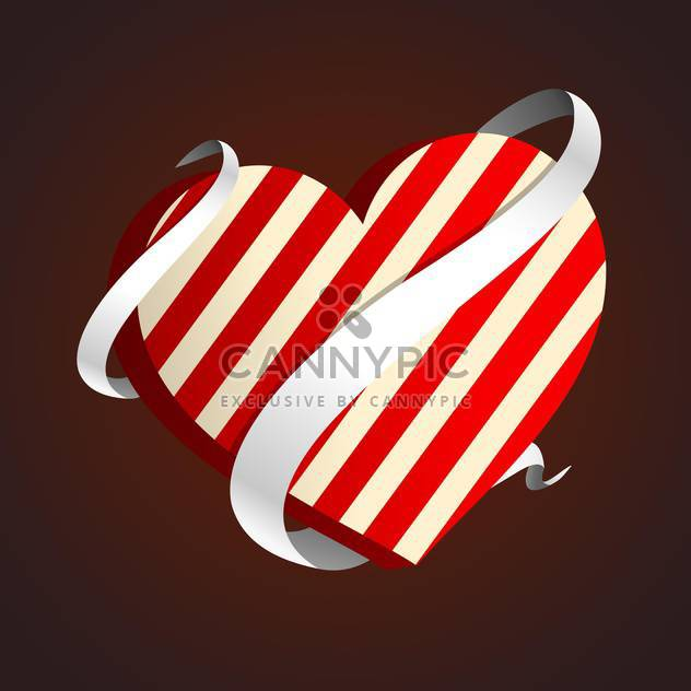 valentine heart with ribbon on brown background - Free vector #127547