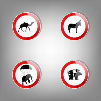 Animal round shaped warning signs on grey background - vector gratuit #127567