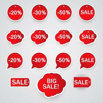 Vector set of red stickers for sale on white background - Free vector #127587