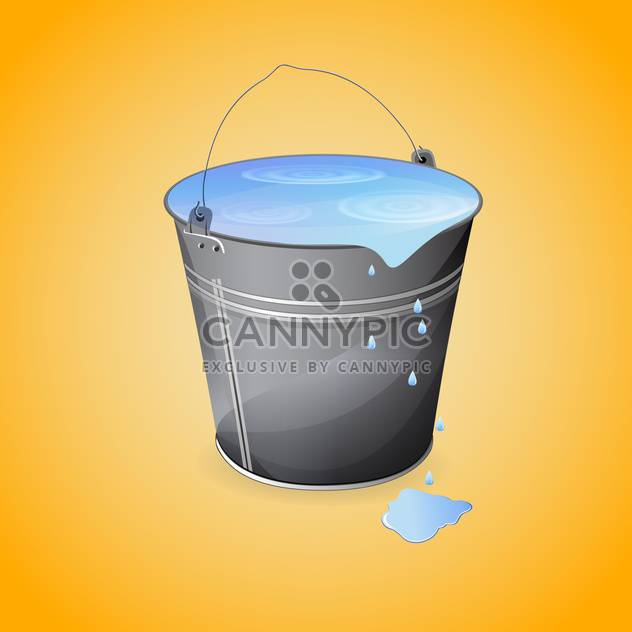 vector illustration of gray bucket of water on orange background - Free vector #127597