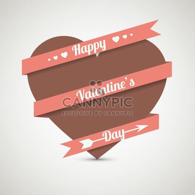 love heart with ribbon for valentine card - Free vector #127607