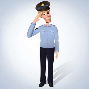 vector illustration of drawing policeman on blue background - vector gratuit #127617