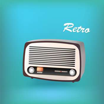 vector illustration of retro radio on blue background - vector gratuit #127627