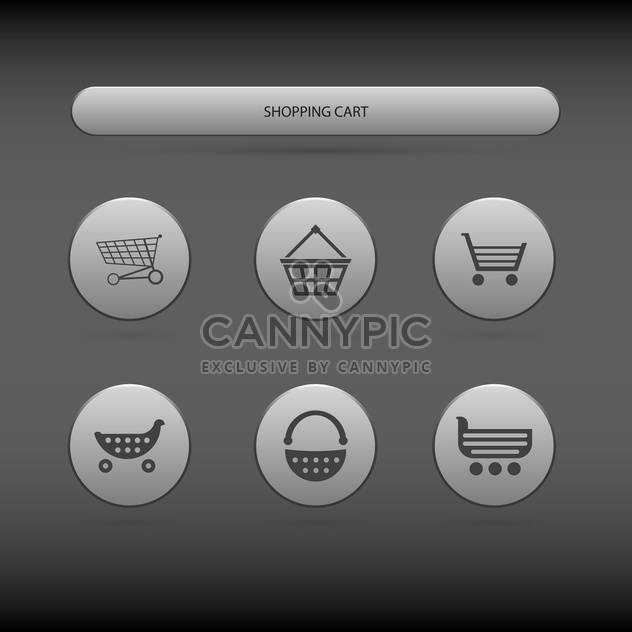 simple icons of shopping carts and baskets on grey background - Free vector #127677