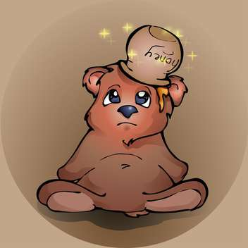 Upset teddy bear with honey on head on brown background - vector gratuit #127697