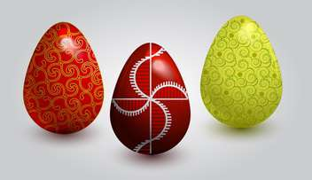 vector illustration of painted easter eggs on white background - vector gratuit(e) #127807