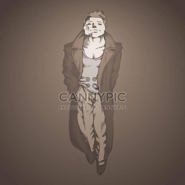 Vektor-Illustration von schöner Mann im Regenmantel auf grauen Hintergrund - Kostenloses vector #127877