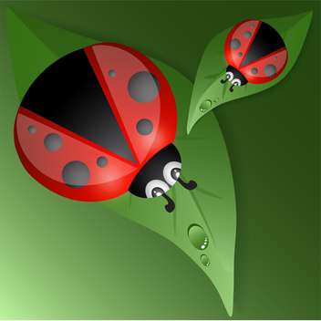 Green leaves design with red ladybugs - vector gratuit #127927
