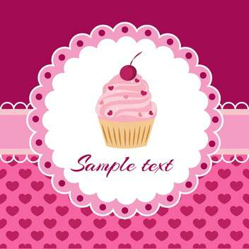 Vector pink background with cupcake and lace - vector gratuit #127937