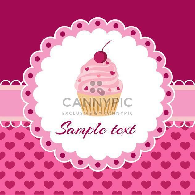 Vektor rosa Hintergrund mit Cupcake und Spitze - Free vector #127937