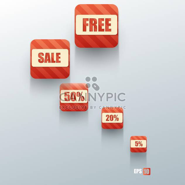 shopping sale buttons on grey background - Free vector #127967
