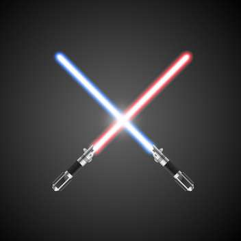 crossed lightsabers on grey background - Free vector #127977