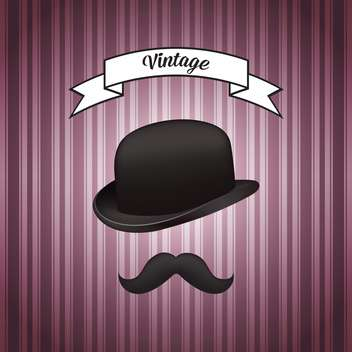 vector illustration of retro hat and mustache - Free vector #128027