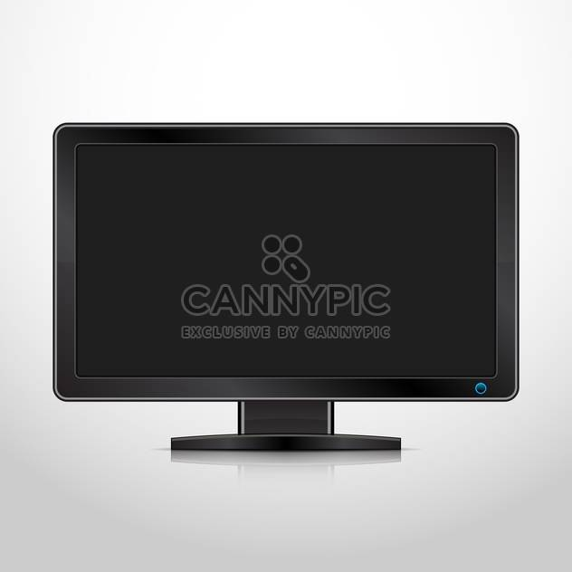 vector illustration of computer monitor with black screen on white background - Free vector #128047