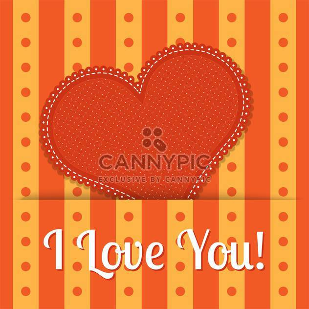 Vector valentine card with orange heart - Free vector #128097