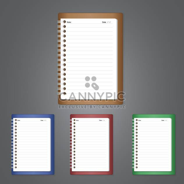 vector illustration of empty notebooks on grey background with text place - Free vector #128107