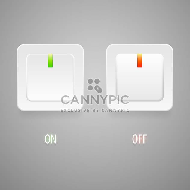 On and Off switch buttons on grey background - Free vector #128117