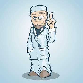 Vector illustration of doctor with on finger up - Free vector #128137
