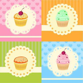 Set with vector cupcakes with lace - vector gratuit #128327