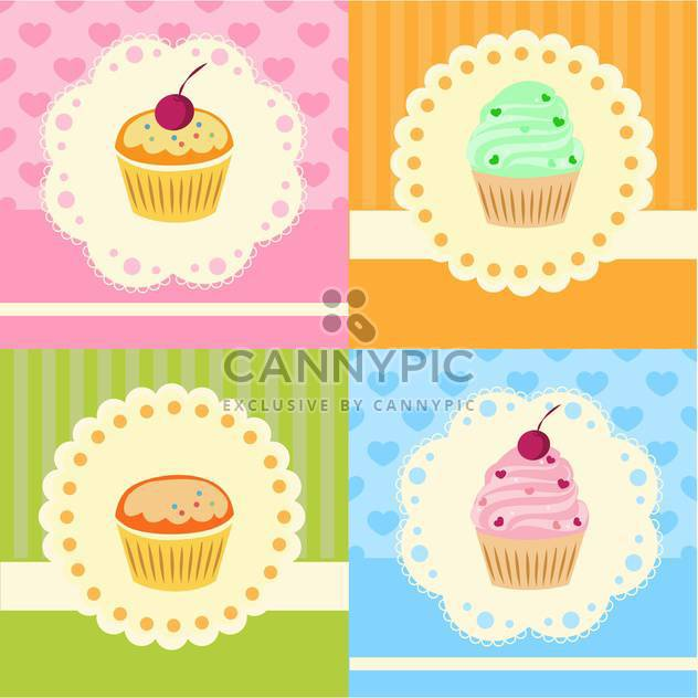 Set with vector cupcakes with lace - Free vector #128327