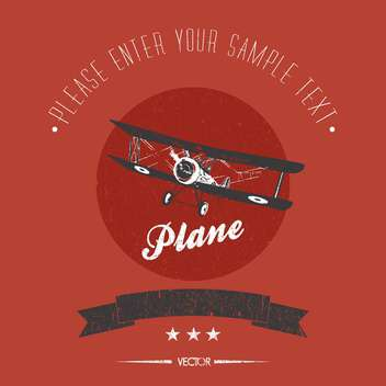 vintage biplane vector card - бесплатный vector #128347