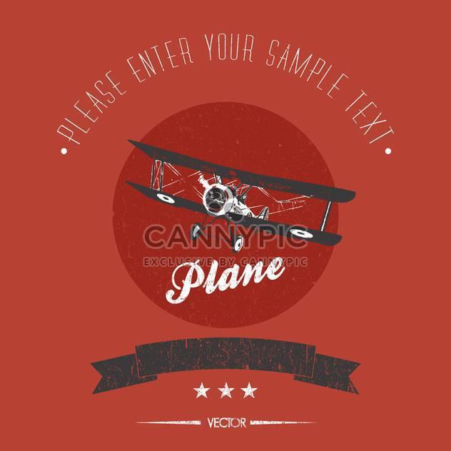 vintage biplane vector card - Free vector #128347