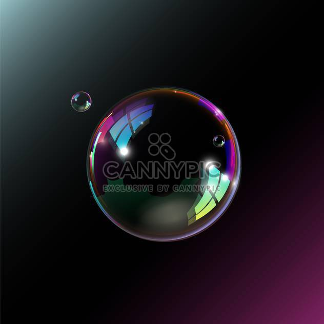 One big soap bubble with two smaller ones illustration on black background - Free vector #128387