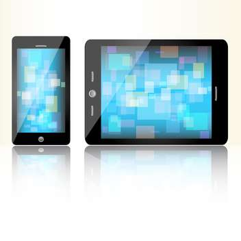 Black mini tablet and smart phone - Kostenloses vector #128397