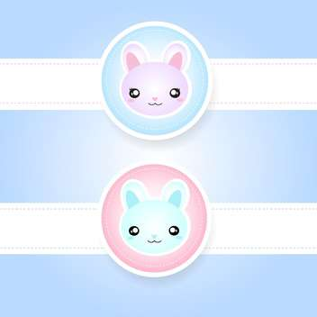 Cute couple of pink and blue rabbits - vector gratuit #128437