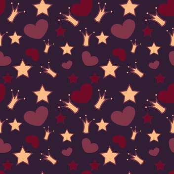 Seamless vector background with crowns, stars and hearts - vector gratuit #128447