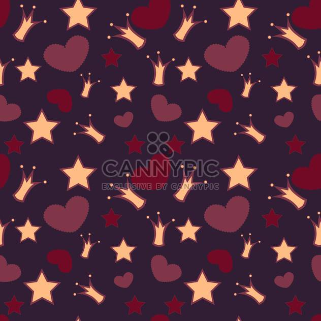 Seamless vector background with crowns, stars and hearts - Free vector #128447