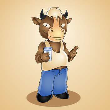Vector illustration of funny cartoon bull with glass of milk - Free vector #128467