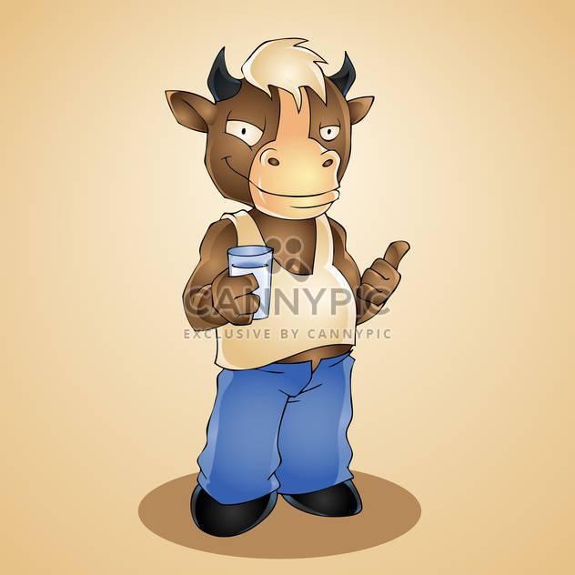 Vektor-Illustration lustig Cartoon Bulle mit Glas Milch - Free vector #128467