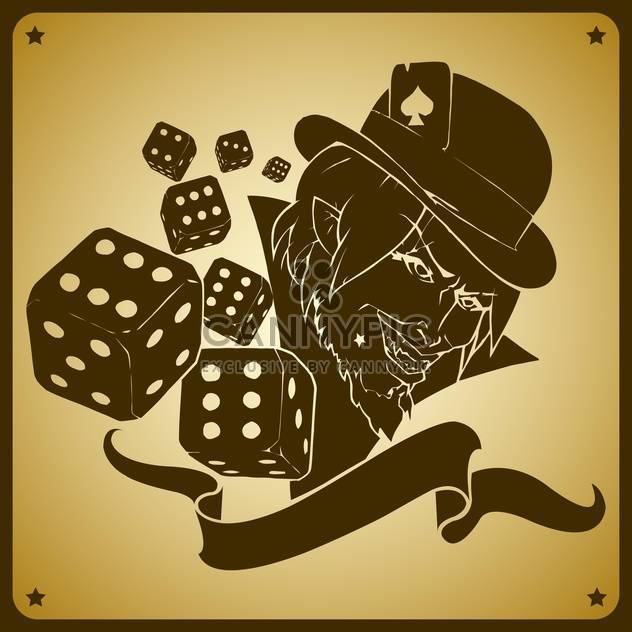 Vector illustration of joker and dices - Free vector #128477