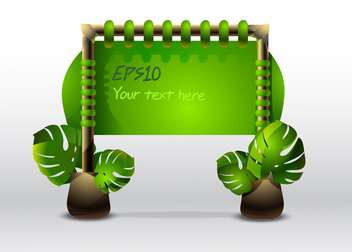 Vector illustration of green sign with leaves. - Free vector #128487