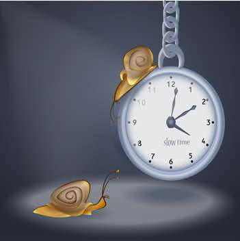Concept vector illustration of clock and two snails - vector gratuit #128507