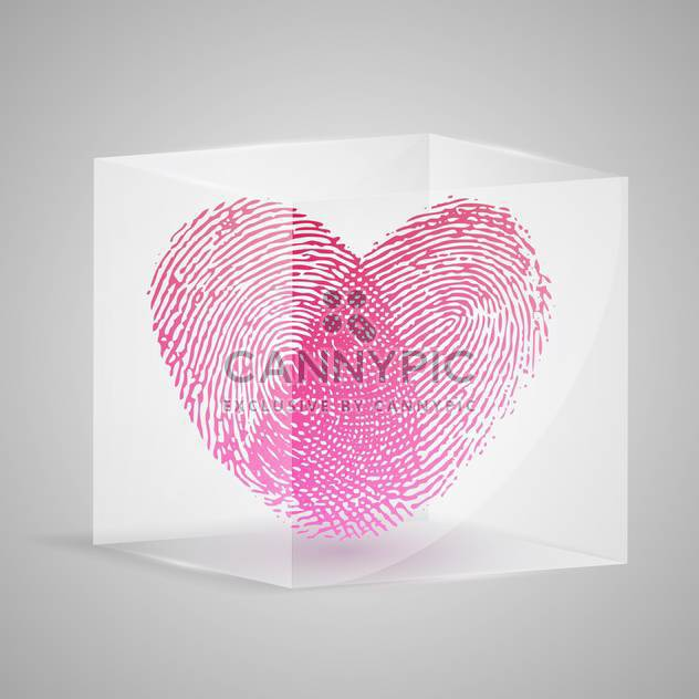 Vector illustration of fingerprint in the form of heart in glass box. - Free vector #128527