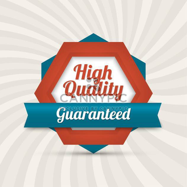 Vector badge with text high quality guaranteed - Free vector #128537