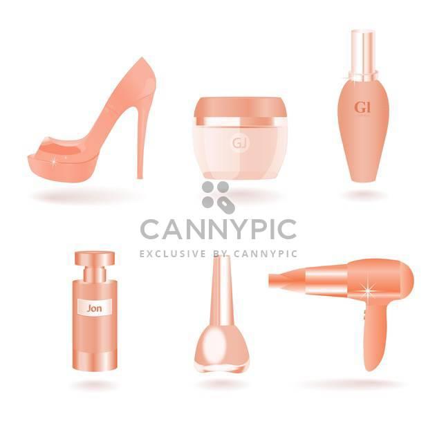 Vektor-Reihe von weiblichen Kosmetik- und Beauty Things - Kostenloses vector #128547